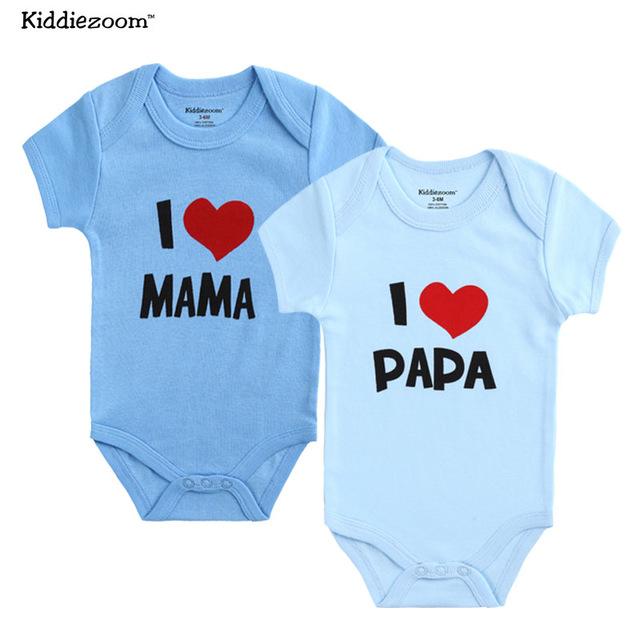 919e9e0e 2PCS/LOT Newborn Baby Clothes Short Sleeve Girl Boy Clothes I Love Papa  Mama Design 100% Cotton Baby Rompers de bebe costumes
